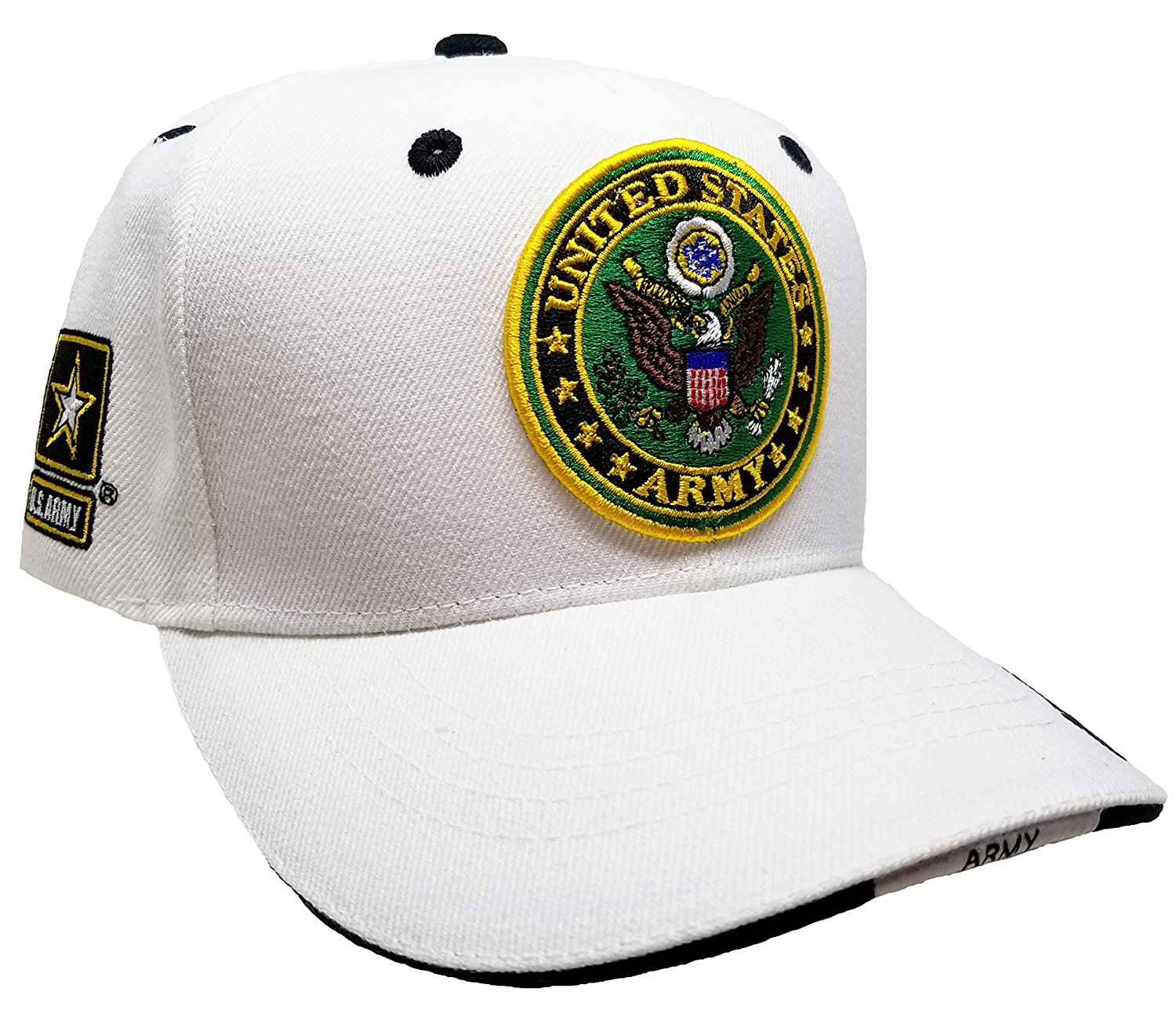 77e71b692d6451 Get Quotations · Buy Caps and Hats U.S. Army Cap with Logo White  Embroidered Hat United States Mens