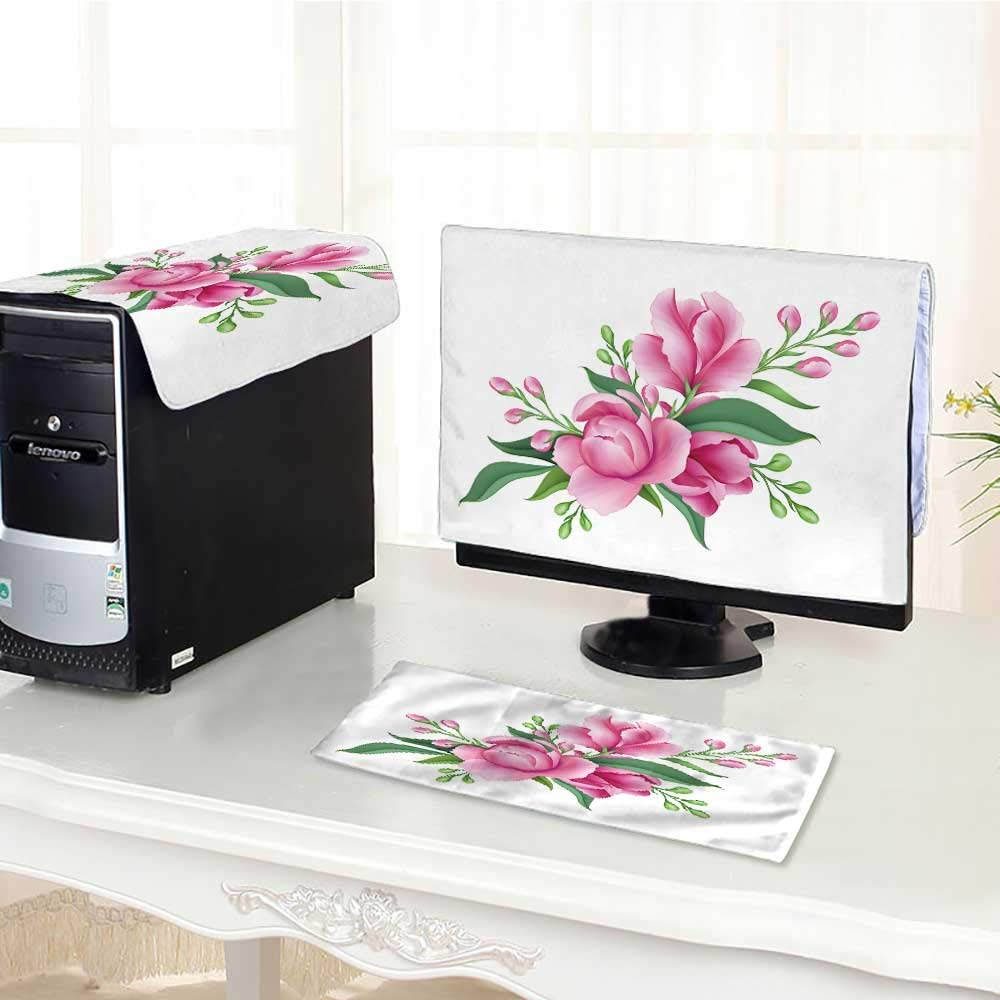 """UHOO2018 Flat Screen Protector 3 Pieces Digital Bunch of Pink Flowers Isolated on White Background Anti-Static Vinyl /28"""""""