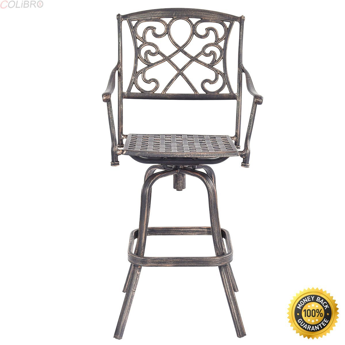 Colibrox cast aluminum swivel bar stool patio furniture antique copper design outdoor new