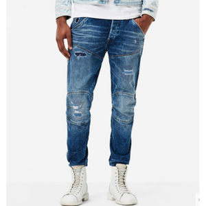 Men's Zip Pocket Blue Tapered Slim Fit skinny denim Jeans pants for men
