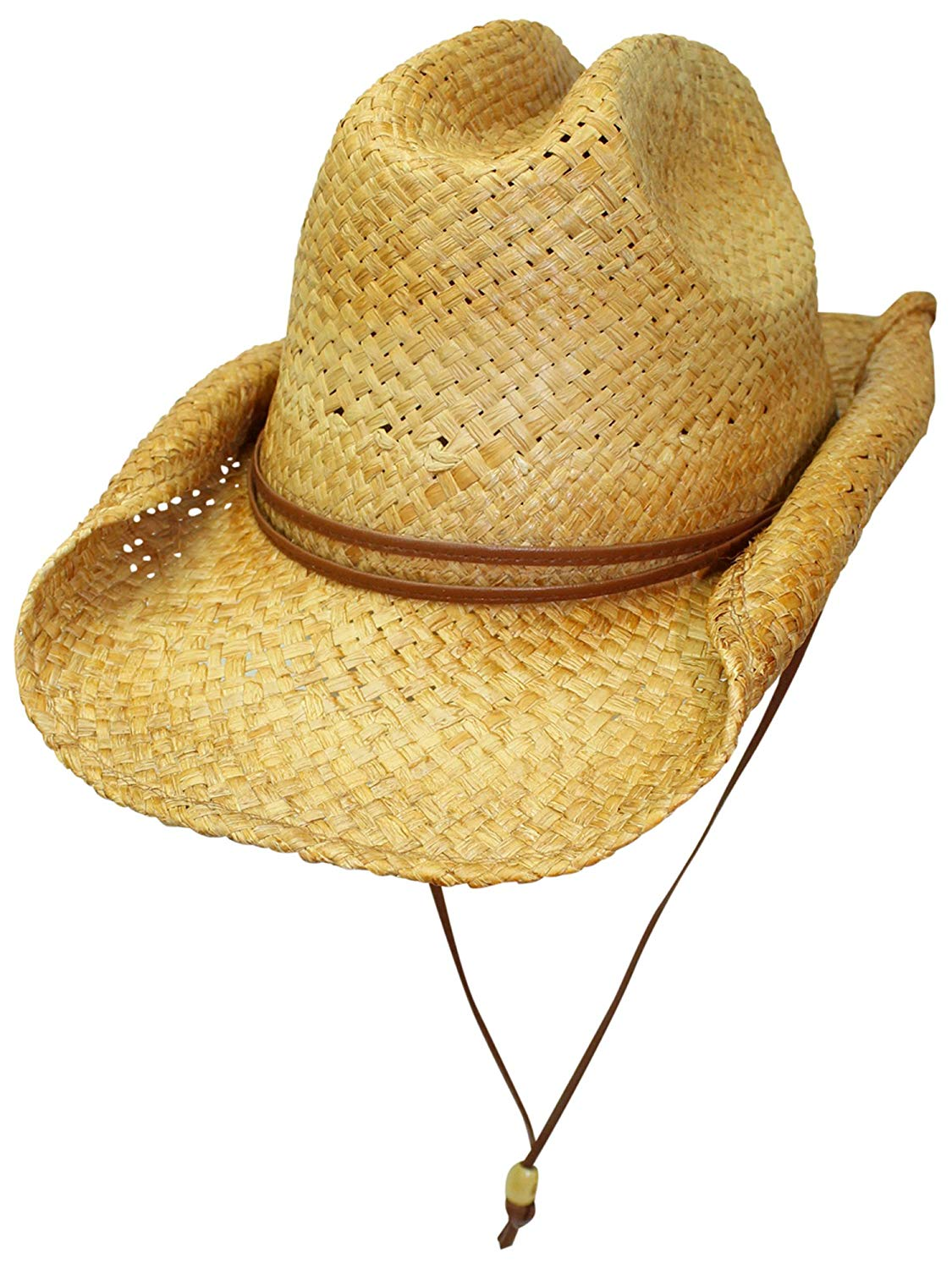 Luxury Divas Bended Brim Rocker Style Distressed Straw Cowboy Hat With Chin Cord
