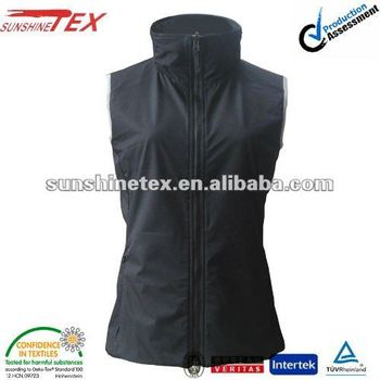 Women Sleeveless Coat New design Waistcoat Ladies Reversible Black Vest with Zipper