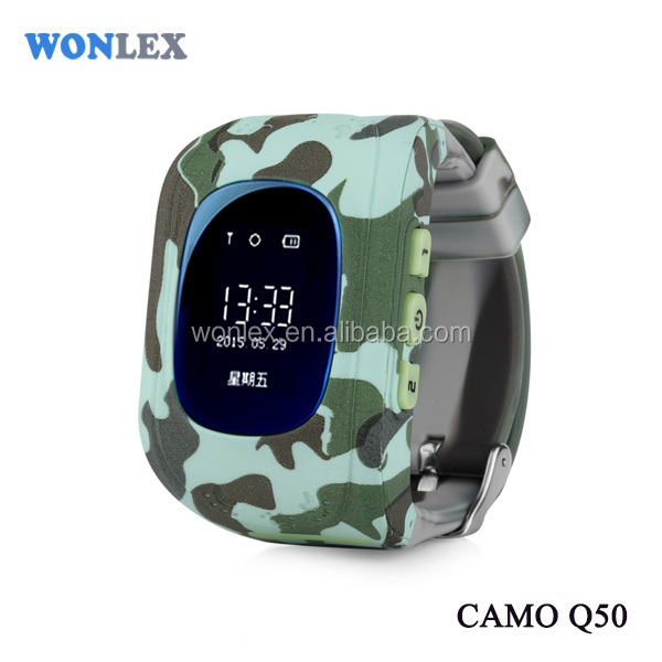 Wonlex new arrival camouflage for Q50 Anti-lost & SOS alarm Phone /advanced google earth gps gsm vehicle tracking for kids