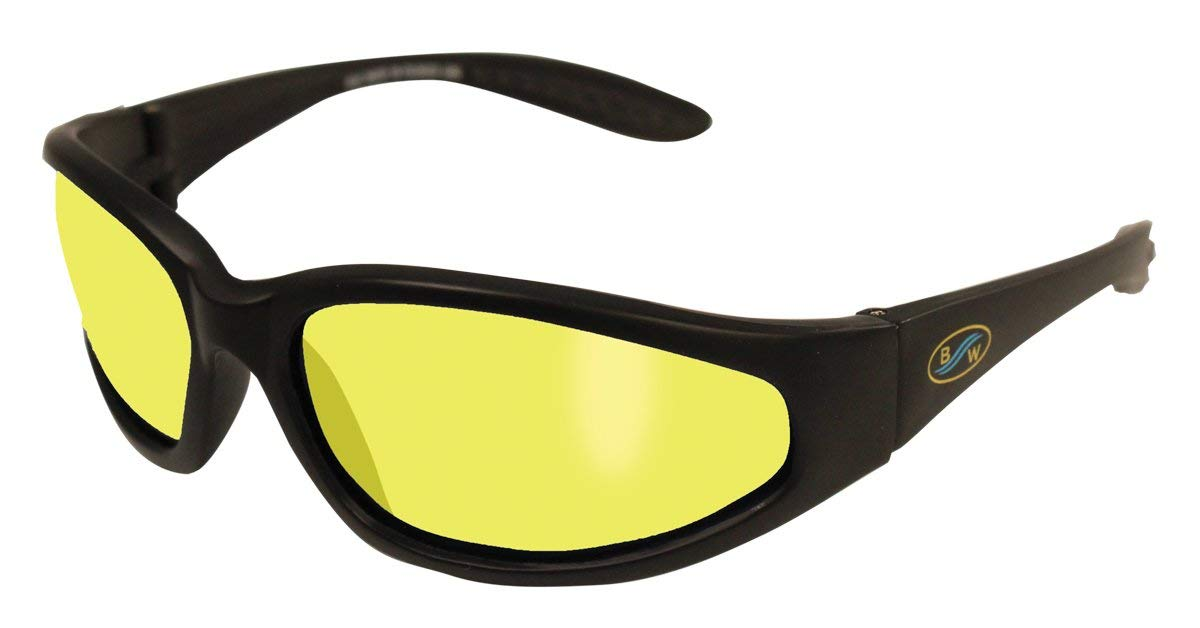 4a88c536cae Get Quotations · BluWater Polarized Sharx Series Sunglasses with Matte  Black Frames and Yellow Tint Lenses