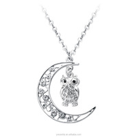 yiwu jewelry new products owl and crescent moon necklace on sales