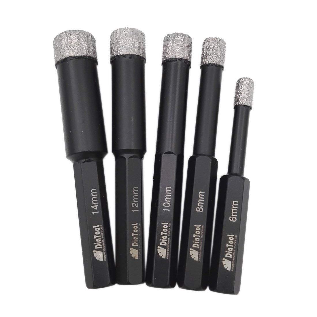 DIATOOL 5pcs/set Dry drilling bits with Hex shank for granite marble ceramic tile glass Vacuum Brazed diamond drill bits (6/8/10/12/14mm)