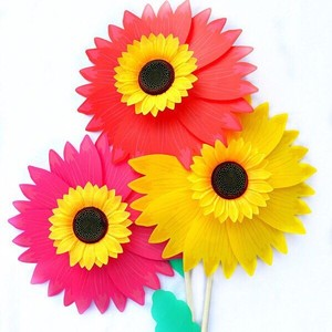 Colorful Double Deck Sequins Sunflower Children Toy Windmill