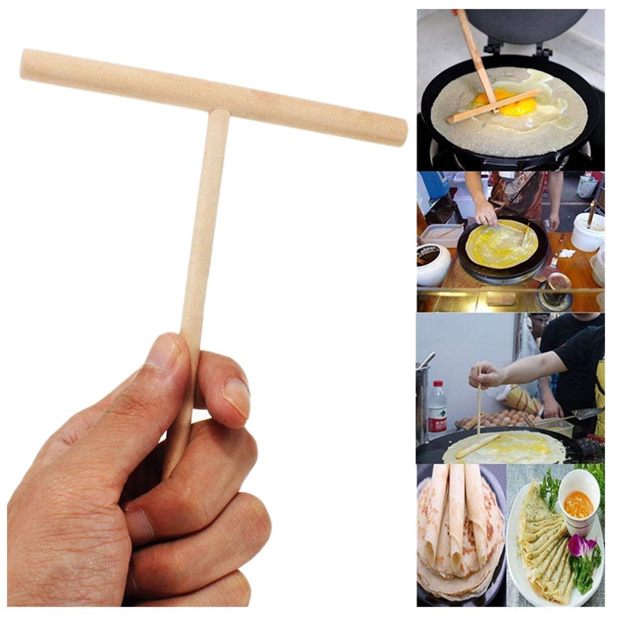 Queenbox 5x7Inch Wooden Crepe Spreader Pancake Batter Stick Spreader Maker Home Kitchen Tool