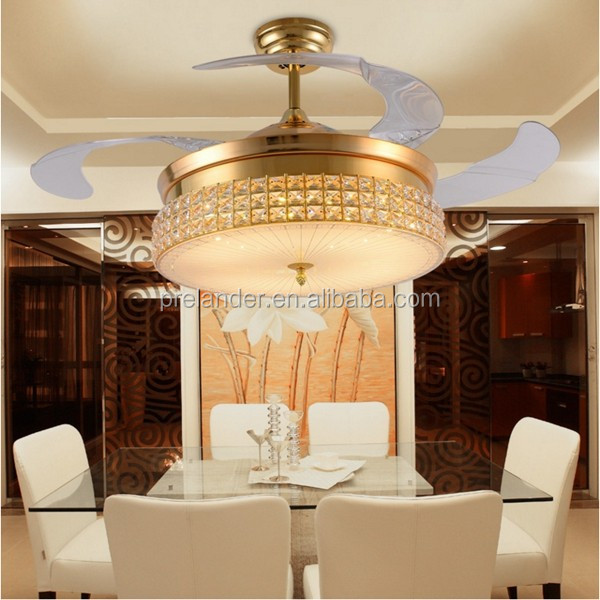 42inch Hidden Blades Crystal Led Ceiling Fans With Folding Blades ...
