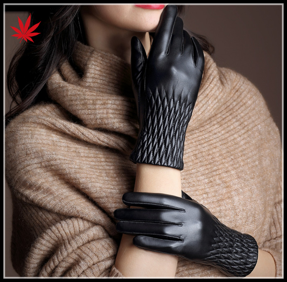 Women touch screen leather glove warm winter leather gloves sheepskin gloves