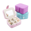 Hot Sales Faux Leather Case Travel Organizer Jewelry Box with Mirror for ring