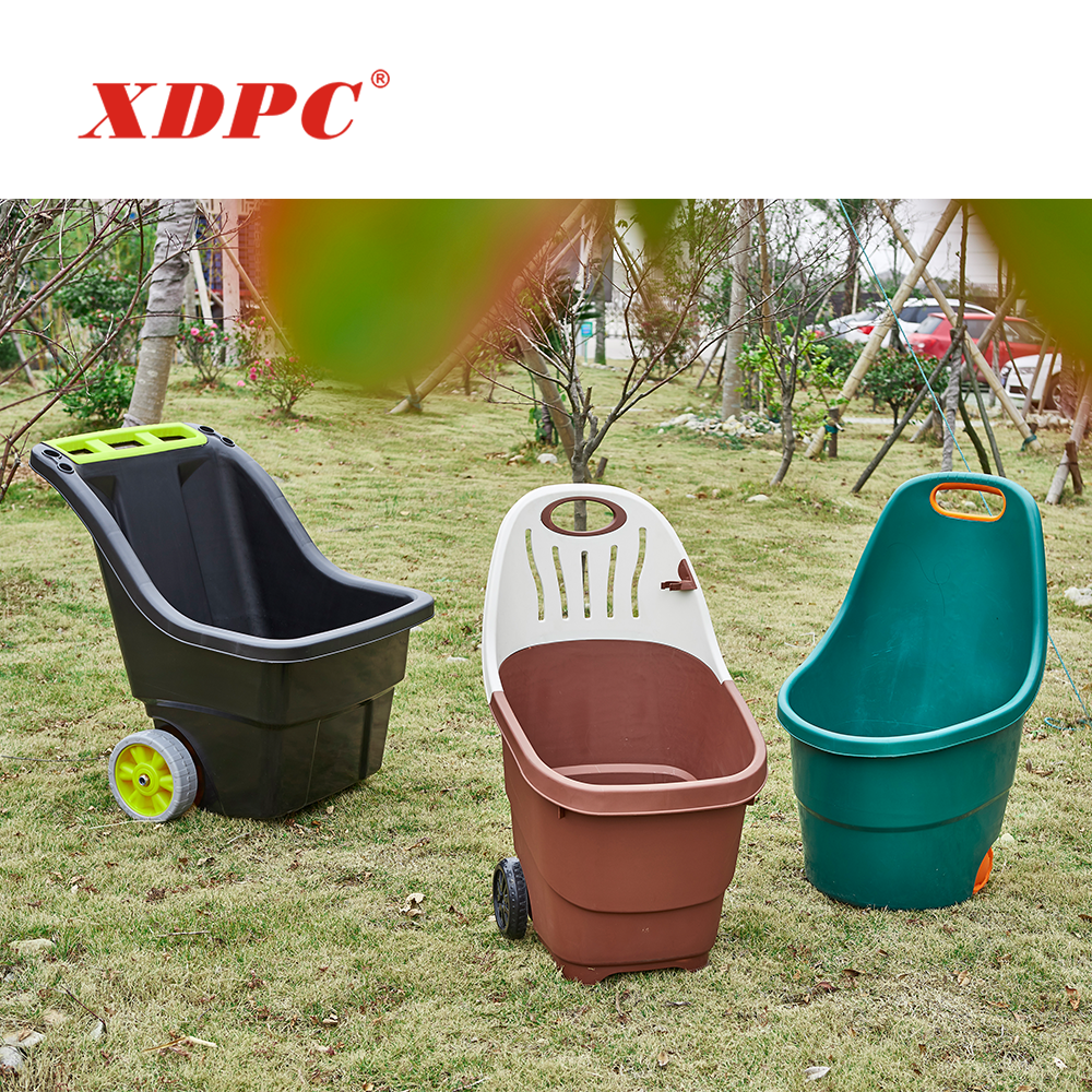 Wholesale plastic bucket easy used garden leaf hand storage trolley cart gardening with wheels