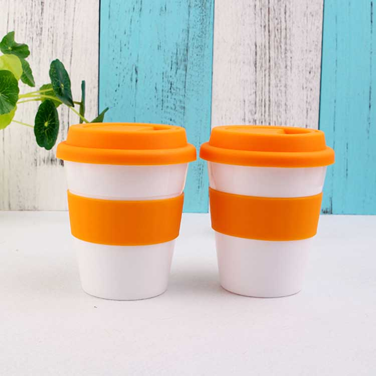 Wholesale BPA Free Double Wall Reusable custom coffee cup with sleeves