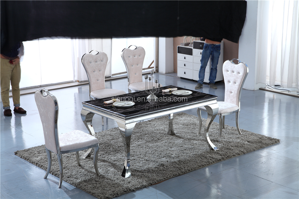 Perfect Hot Sale Modern Marble Top Stainless Steel Dining Table Set Marble Dining  Table.