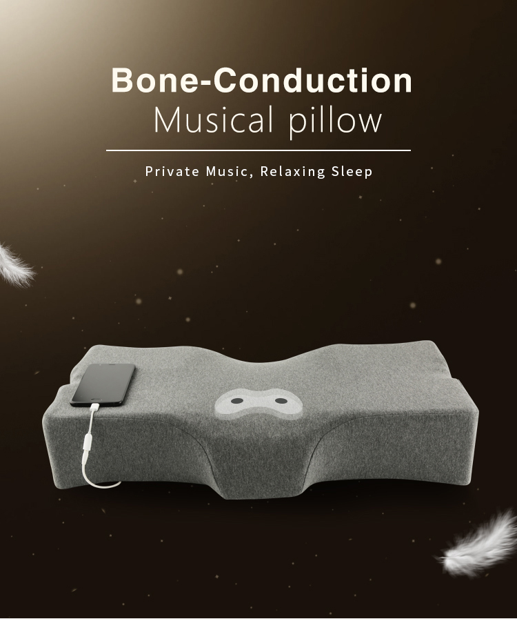 Bone Conduction Musical Pillow Speakers Promote Side Sleeper Pillows Orthopedic Comfort Memory Foam Sleeping Smart Music Pillow