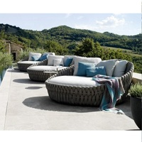 Poolside Sunbed Pool Bed Outdoor Round Sunbed Rattan Lounge Set Pool Furniture