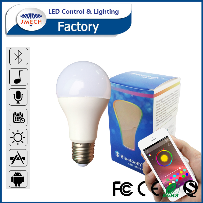 Android Iphone Compatible Smart Bulb Bluetooth time control 9W E27 LED RGB Music Bulb colorful bluetooth