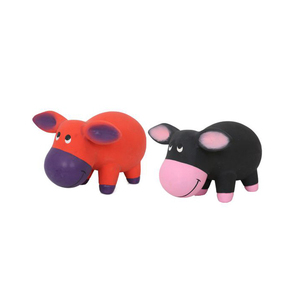 Pig shape Interactive dog toy pet latex toy with squeaker