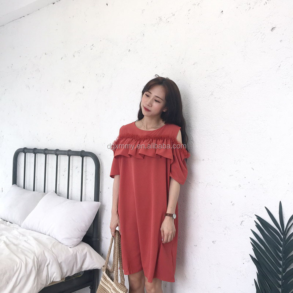 Women'S Harajuku Chic Temperament Style Strapless Wood-Ears Loose Solid Color Dress Cute Korean Kawaii Dress For Female