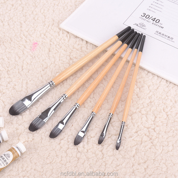 Professional school Artist paint brush set wholesale Acrylic paint brush face makeup brush for 6pcs with pvc package