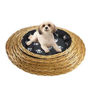 Handmade High Quality Multifunction Wholesale Wicker Pet House Rattan Outdoor Wooden Bamboo Dog Bed