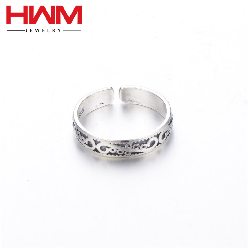 S925 silver adjustable Thai silver swing hand engraved adjustable silver ring