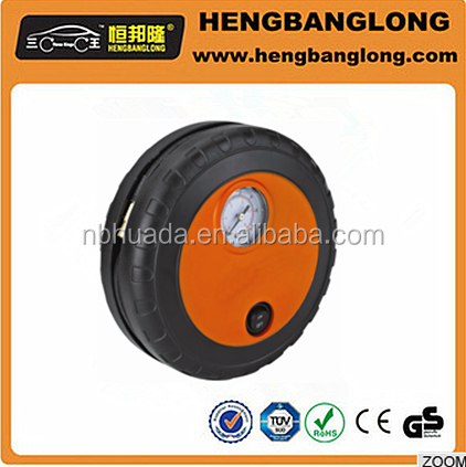 Hot selling mini tyre shape dc 12v air compressor car tyre inflator,factory supply 100 PSI car air compressor