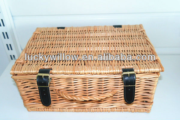 empty wicker hamper empty willow picnic basket with leather and willow handle