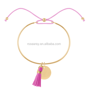Popular Stainless Steel 18K Gold Plated Women New Fashion Cuff Bangle With Tassel Cord Metal tags