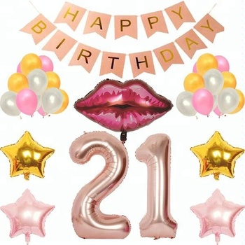 Pink Happy Birthday Banner Rose Gold Number 21st Decoration Party Supplies
