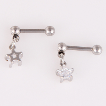 Silver Surgical Steel Clear Star Dangling Ear Stud Cartilage Piercing Earring Jewelry