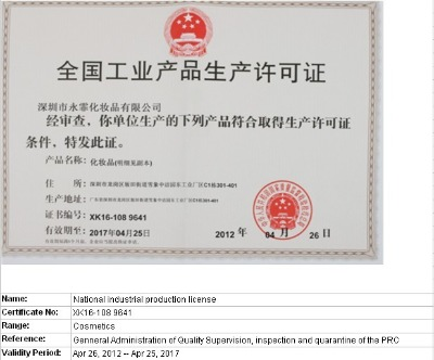 National Industrial Products Manufacture Certificate
