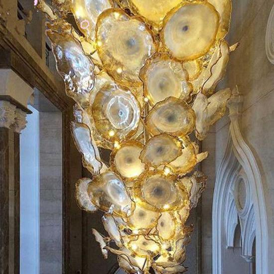 Luxury Gold ดอกไม้จี้โคมไฟเป่าแก้ว Murano แผ่นโมเดิร์นโคมไฟระย้า