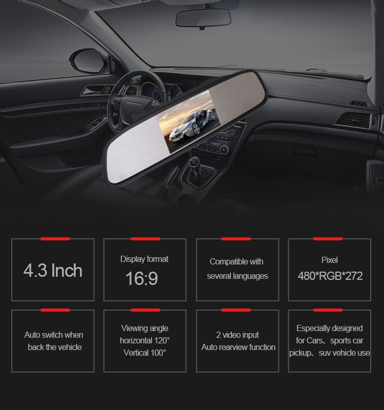 2019 Professional 4.3 Inch  G-sensor Dashcam Car RearviewMirror Monitor with great price
