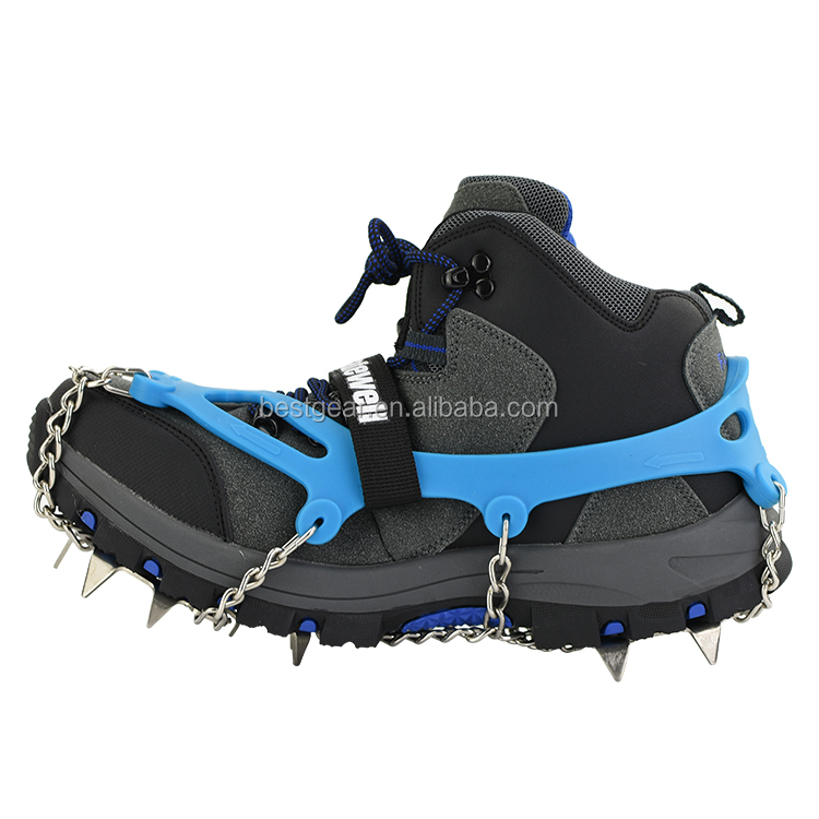 Outdoor 13-tooth non slip silicon adujustable mountain trail crampons