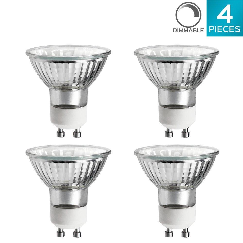 Luxrite LR20590 (4-Pack) 50W/GU10/120V 50-Watt MR16 Halogen Light Bulb, Glass Cover, Dimmable, 450 Lumens, GU10 base