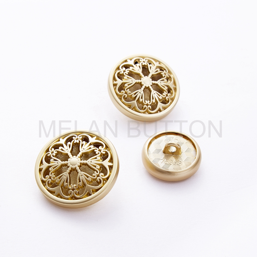 18/23/25mm Carving Hollow Golden Unisex Clothing Metal Round Buttons 4 colors