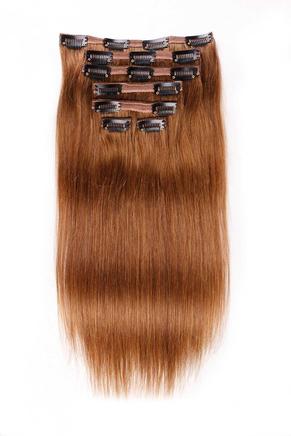 3930ce7f26 Get Quotations · Double Weft Full Head Clip in Hair Extensions Human Hair  Straight 4 Color Light Brown Auburn