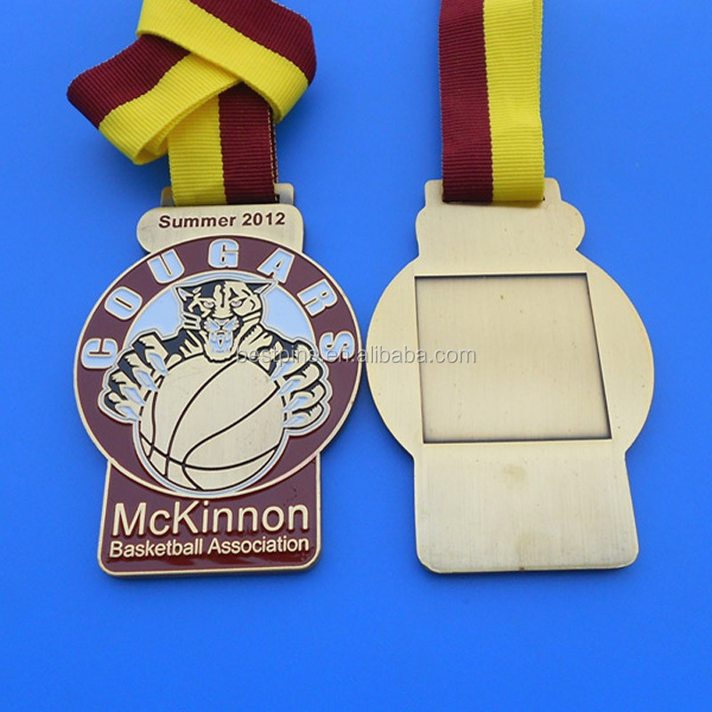 Summer 2012 COUGARS McKinnon Basketball Association enamel frame medal with ribbon