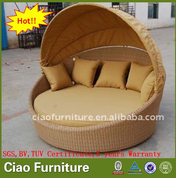 등나무 야외 파티오 가구 고리 버들 라운드 침대 - Buy Product on ...