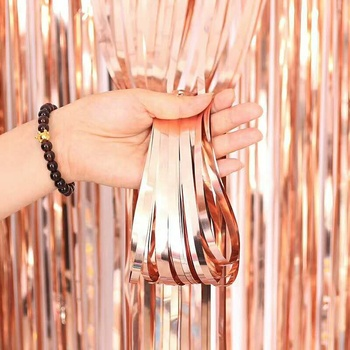 1m*2m/1m*2.5m/1m*3m New Design Metallic Rose Gold Foil Curtain for Wedding Hen Wild One Party Decoration