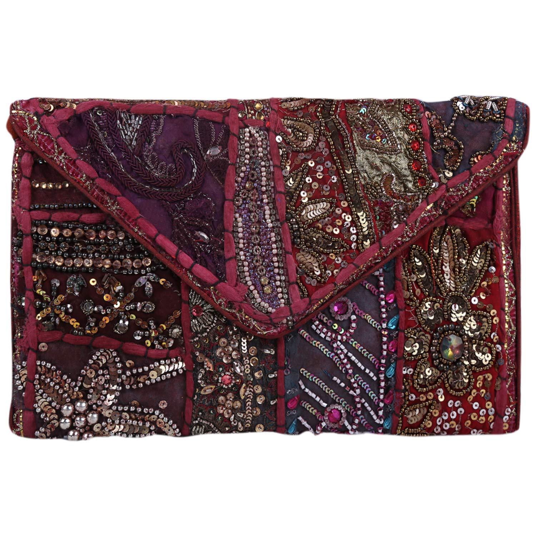 Brazeal Studio Collection Women's Ethnic Embroidered Envelope Foldover Clutch Fashion Evening handbag purse