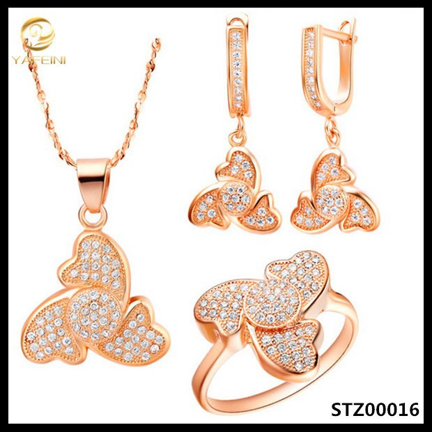 Populared women fashion china wholesales 925 silver jewelry set with rose gold plated heart pendant necklace,drop earring