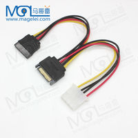 SATA To IED Power Cable 4Pin Male To Double 15 Pin Female Sata Power Cable for Computer
