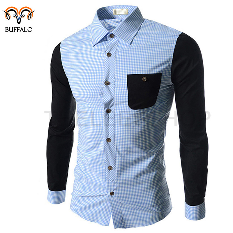 2015 Men Shirt Men's Casual Fashion Slim Fit Brand Plaid Shirt Long Sleeved Men Summer Shirt Camisa Masculina Male Shirt