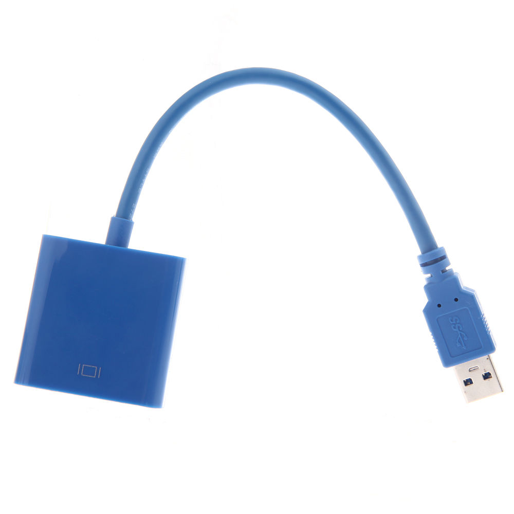 USB to VGA Multi-display Adapter Converter External Video Graphic Card Blue
