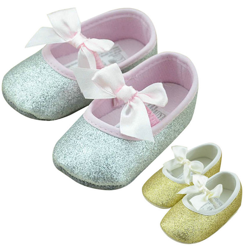 2016 Summer Toddler Baby Girls Shine Antislip Bowknot Soft Sole Ribbon Crib Shoes Prewalker Baby Shoes