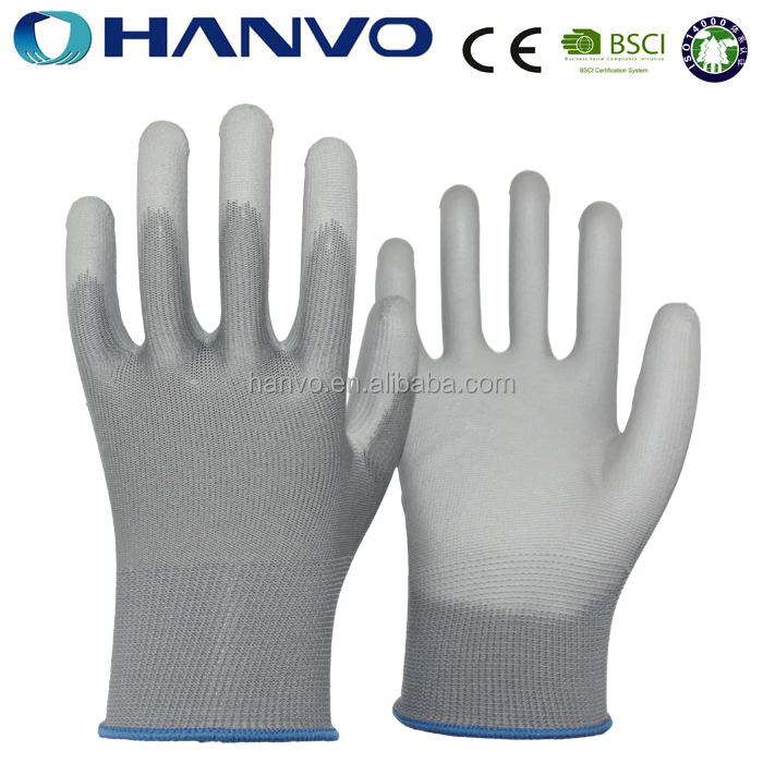 HANVO 13 Gauge Nylon Knitting Glove Dipped PU Work Gardening Glove