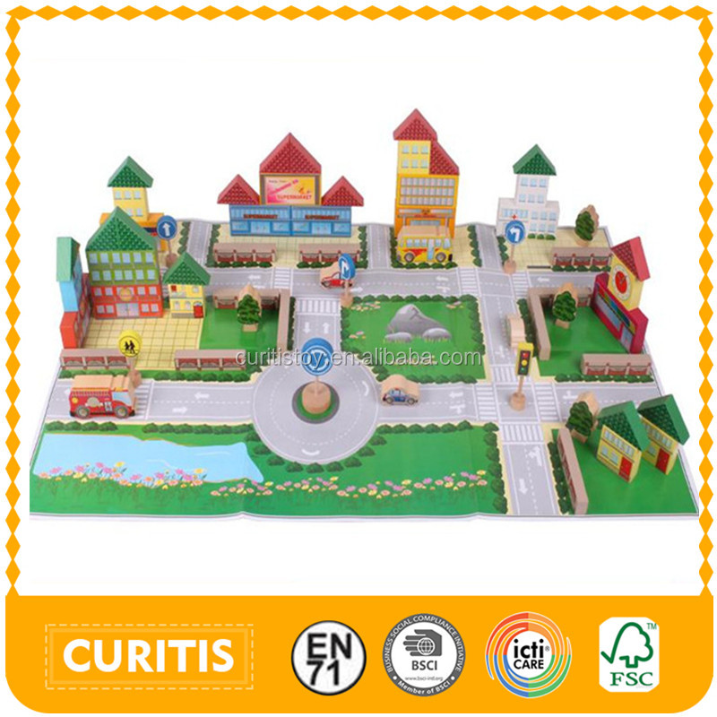 child toys popular kids fantastic intelligence 3d wood city building color blocks sets toys bulk wooden story block build game