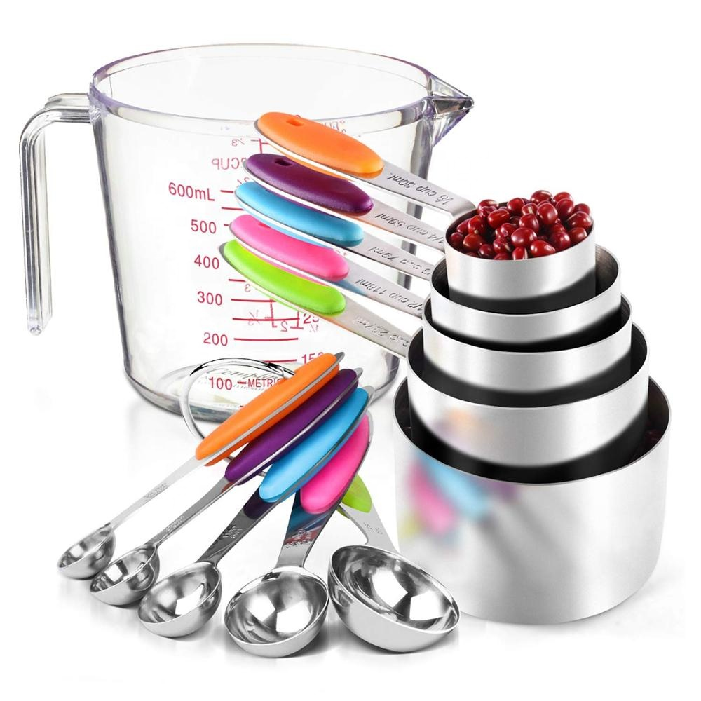 304 Stainless Steel Measuring Cups and Spoons Set/milkshake Transparent Plastic Measuring Cup /baking and home kitchen